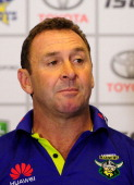 Raiders coach Ricky Stuart looks on during the post match press conference at the end of the round one NRL match between the North Queensland Cowboys...