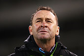 Raiders Coach Ricky Stuart looks on during the round 18 NRL match between the Canberra Raiders and the North Queensland Cowboys at GIO Stadium on...