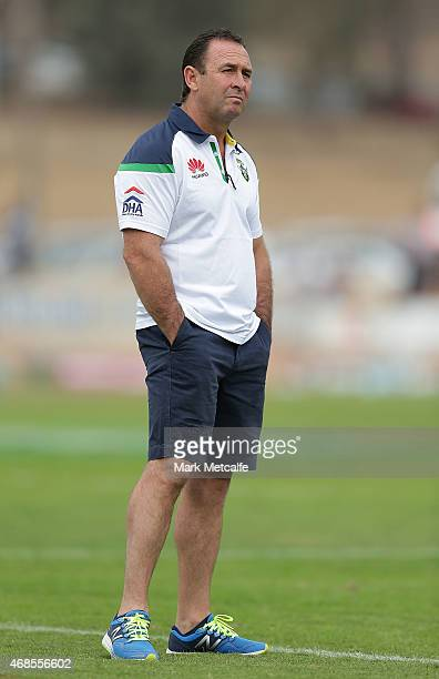 Raiders coach Ricky Stuart looks on during the round five NRL match between the Manly Sea Eagles and the Canberra Raiders on April 4 2015 in Albury...