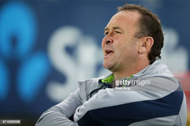 Raiders coach Ricky Stuart looks on during the round nine NRL match between the Canterbury Bulldogs and the Canberra Raiders at ANZ Stadium on April...