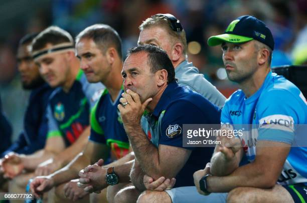Raiders coach Ricky Stuart looks on during the round six NRL match between the Gold Coast Titans and the Canberra Raiders at Cbus Super Stadium on...