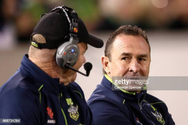 Raiders coach Ricky Stuart sits on the sideline during the round seven NRL match between the Canberra Raiders and the New Zealand Warriors at GIO...