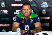 Raiders coach Ricky Stuart speaks to the media after the round one NRL match between the Cronulla Sharks and the Canberra Raiders at Remondis Stadium...