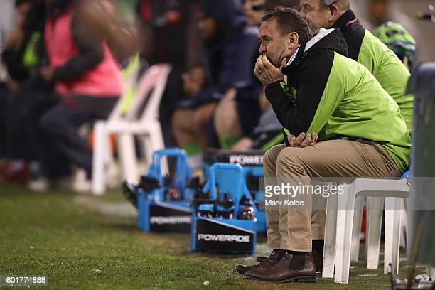 Raiders coach Ricky Stuart watches on during the NRL Qualifying Final match between the Canberra Raiders and the Cronulla Sharks at GIO Stadium on...