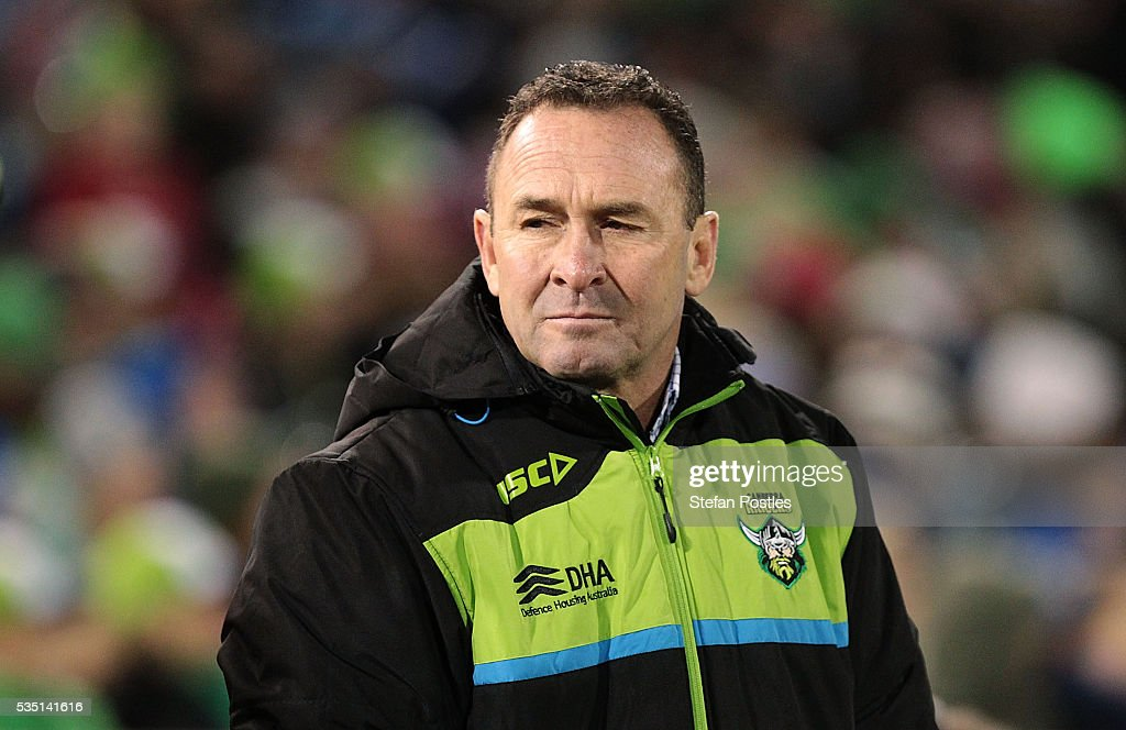 Raiders coach <a gi-track='captionPersonalityLinkClicked' href=/galleries/search?phrase=Ricky+Stuart&family=editorial&specificpeople=208798 ng-click='$event.stopPropagation()'>Ricky Stuart</a> watches on during the round 12 NRL match between the Canberra Raiders and the Canterbury Bulldogs at GIO Stadium on May 29, 2016 in Canberra, Australia.