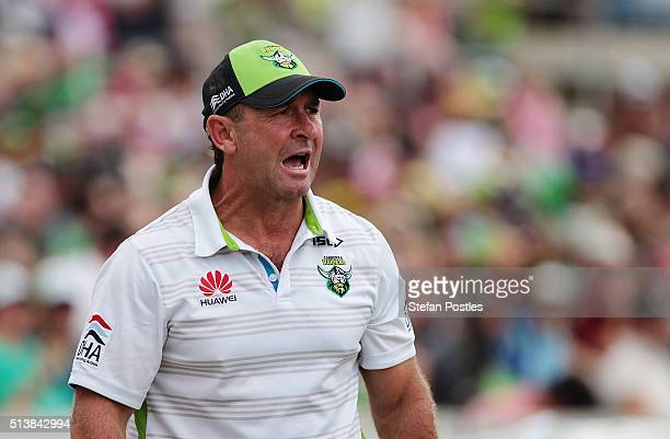 Raiders Coach Ricky Stuart watches on during the round one NRL match between the Canberra Raiders and the Penrith Panthers at GIO Stadium on March 5...