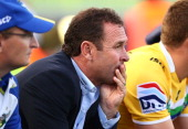 Raiders coach Ricky Stuart watches on from the bench during the round 11 NRL match between the Canberra Raiders and the North Queensland Cowboys at...