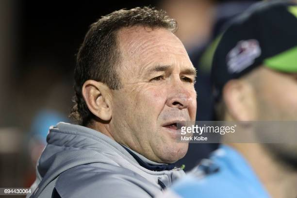 Raiders coach Ricky Stuart watches on from the bench during the round 14 NRL match between the Penrith Panthers and the Canberra Raiders at...