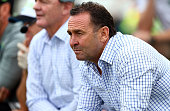 Raiders coach Ricy Stuart watches from the sideline during the round seven NRL match between the Canberra Raiders and the Cronulla Sharks at GIO...