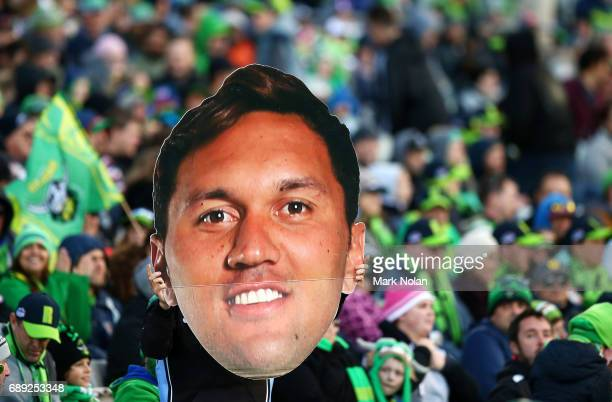 Raiders fans show their support for Jordan Rapana during the round 12 NRL match between the Canberra Raiders and the Sydney Roostrers at GIO Stadium...