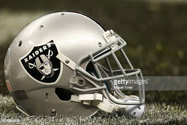 Raiders helmet is seen prior the NFL football game between Houston Texans and Oakland Raiders at Azteca Stadium on November 21 2016 in Mexico City...