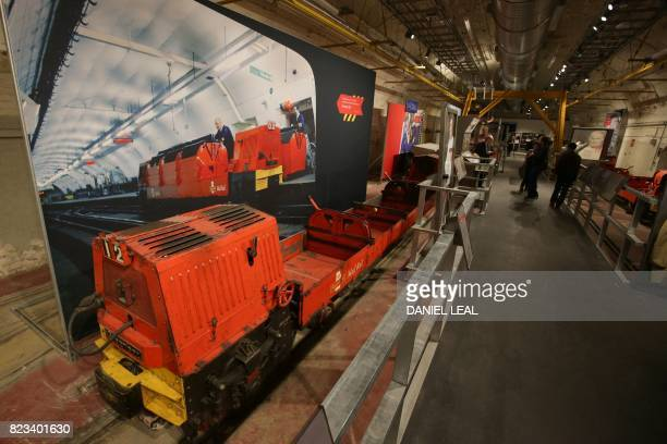 01 GMT / A Rail Car is seen during a media preview of the new Postal Museum and the Mail Rail attraction in London on July 26 2017 Snaking through...