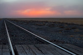 Rail crossing and tracks, Oklahoma, USA
