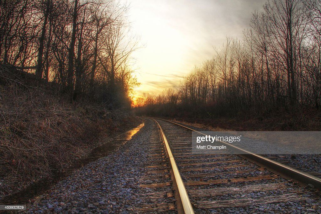 Rail road tracks on cold November evening