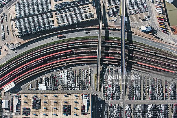 Rail tracks and car terminals, aerial view