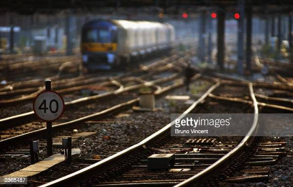 Rail tracks are seen outside of Paddington station August 4 2003 in London Due to the risk of the tracks buckling on some lines if the heat reaches...