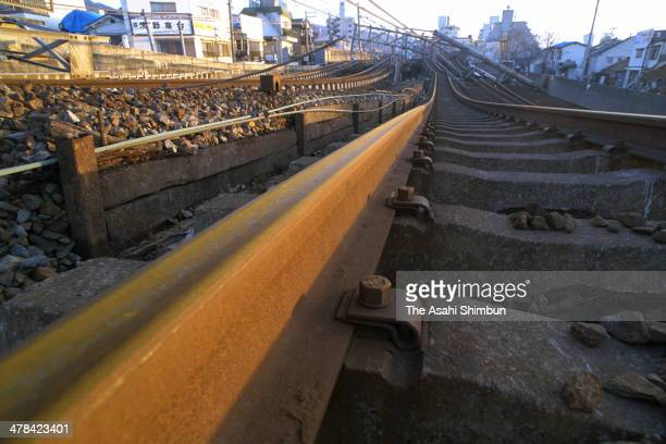 Rail tracks of JR Tokaido line remain bent after the strong earthquake hit on Janaury 24 1995 in Kobe Hyogo Japan Magnitude 73 strong earthquake...