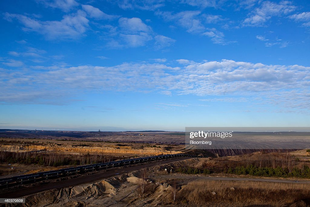 Rail tracks run across the open-pit lignite mine operated by Vattenfall AB in Welzow-Sued, Germany, on Saturday, Jan. 11, 2014. Across the continent's mining belt, from Germany to Poland and the Czech Republic, utilities such as Vattenfall AB, CEZ AS and PGE SA are expanding open-pit mines that produce lignite. Photographer: Krisztian Bocsi/Bloomberg via Getty Images