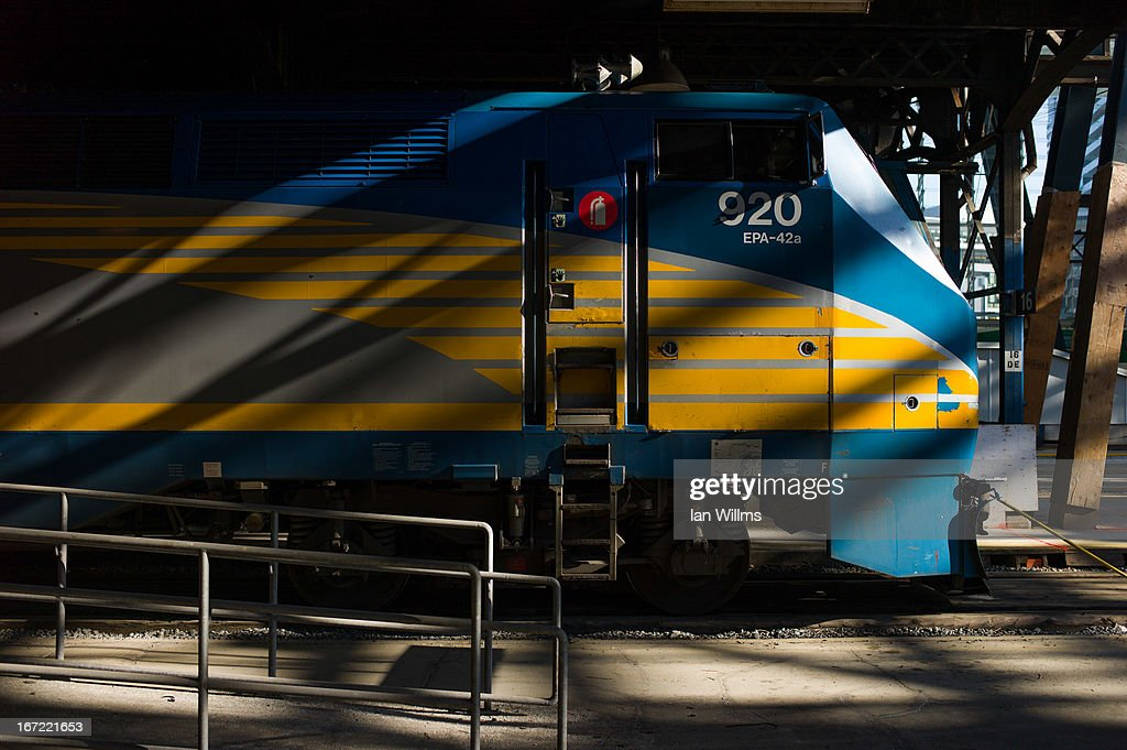 Rail train engine sits idle at Union Station, the heart of VIA Rail travel, on April 22, 2013 in Toronto, Ontario, Canada. The Royal Canadian Mounted Police (RCMP) report they have arrested two people connected to an alleged Al Qaeda plot to detonate a bomb on a VIA Rail train in Canada.