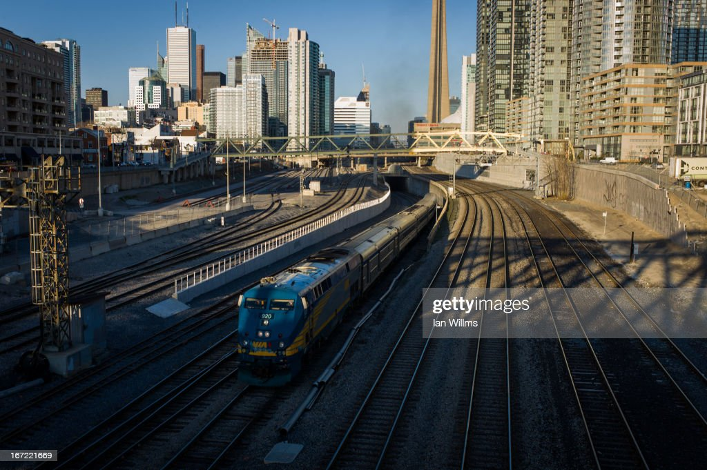 Rail train leaves Union Station, the heart of VIA Rail travel, bound for Windsor on April 22, 2013 in Toronto, Ontario, Canada. The Royal Canadian Mounted Police (RCMP) report they have arrested two people connected to an alleged Al Qaeda plot to detonate a bomb on a VIA Rail train in Canada.