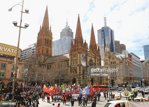 Rail Tram and Bus Union State walk to Flinders Street Station during their strike on September 4 2015 in Melbourne Australia The strike over pay and...