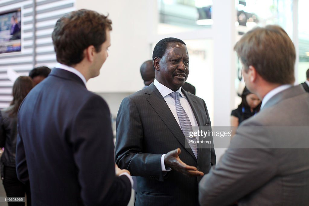 <a gi-track='captionPersonalityLinkClicked' href=/galleries/search?phrase=Raila+Odinga&family=editorial&specificpeople=2147626 ng-click='$event.stopPropagation()'>Raila Odinga</a>, Kenya's prime minister, center, speaks to the media in an exhibition hall during day one of the Saint Petersburg International Economic Forum 2012 (SPIEF) in Saint Petersburg, Russia, on Thursday, June 21, 2012. Russia's showcase investment conference, a three-day event, features foreign executives including Citigroup Inc.'s Vikram Pandit and Goldman Sachs Group Inc.'s Lloyd Blankfein. Photographer: Simon Dawson/Bloomberg via Getty Images