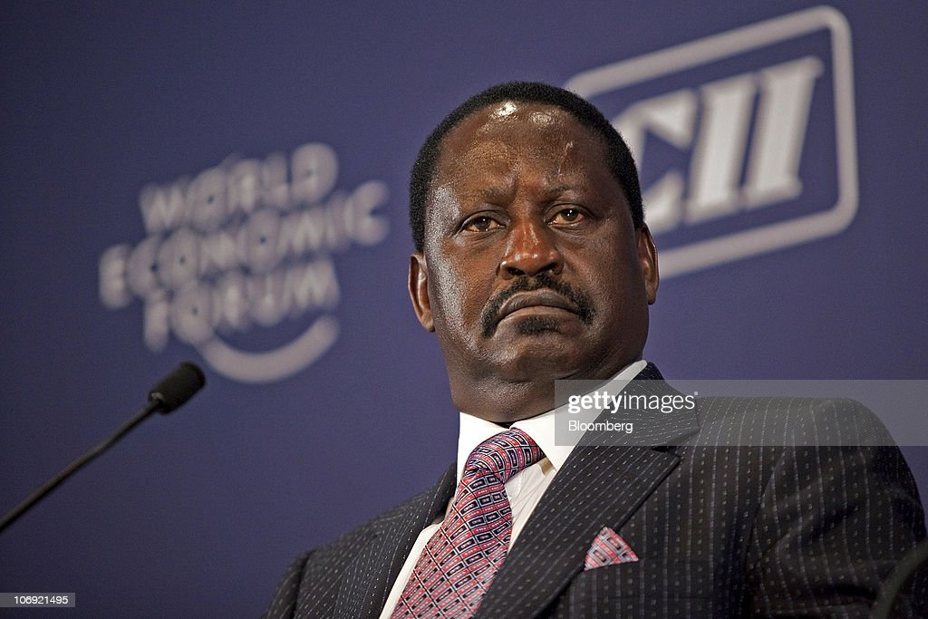 <a gi-track='captionPersonalityLinkClicked' href=/galleries/search?phrase=Raila+Odinga&family=editorial&specificpeople=2147626 ng-click='$event.stopPropagation()'>Raila Odinga</a>, Kenya's prime minister speaks during the World Economic Forum's India Economic Summit in New Delhi, India, on Tuesday, Nov. 16, 2010. About 800 company executives and investors are attending the annual event in the nation's capital, organized by the World Economic Forum. Photographer: Prashanth Vishwanathan/Bloomberg via Getty Images