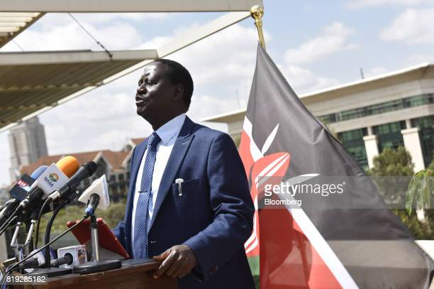 Raila Odinga opposition leader and presidential candidate for the National Super Alliance speaks during a news conference at his headquarters in...