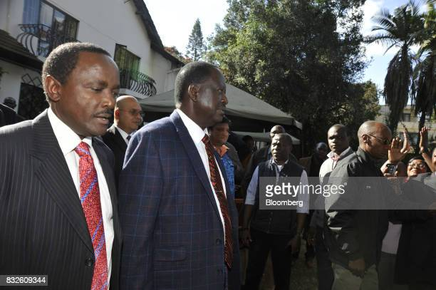 Raila Odinga opposition leader for the National Super Alliance center and Stephen Kalonzo Musyoka Kenya's former vice president arrive for a news...