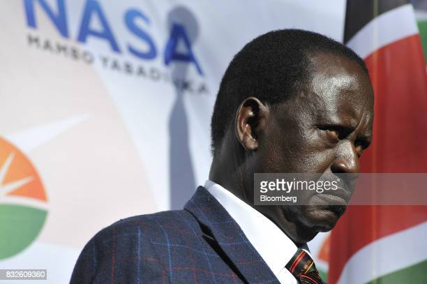 Raila Odinga opposition leader for the National Super Alliance looks on during a news conference in Nairobi Kenya on Wednesday Aug 16 2017 Kenyan...