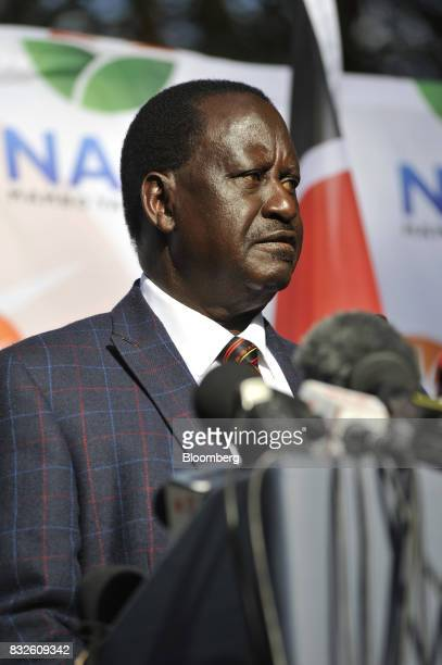 Raila Odinga opposition leader for the National Super Alliance pauses as he speaks during a news conference in Nairobi Kenya on Wednesday Aug 16 2017...