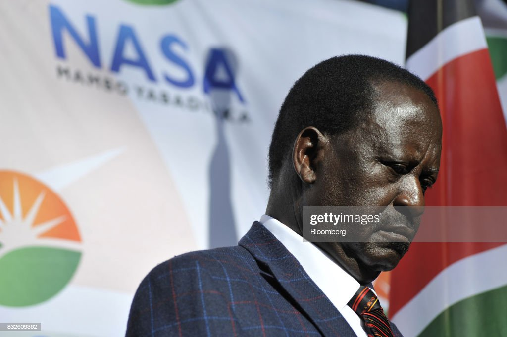 Raila Odinga, opposition leader for the National Super Alliance (NASA), pauses during a news conference in Nairobi, Kenya, on Wednesday, Aug. 16, 2017. Kenyan authorities tried to raid the offices of a civil-rights group planning to challenge last weeks election results in court, the latest move in what activists say is a campaign to quell dissent over the vote that returned President Uhuru Kenyatta to power. Photographer: Riccardo Gangale/Bloomberg via Getty Images
