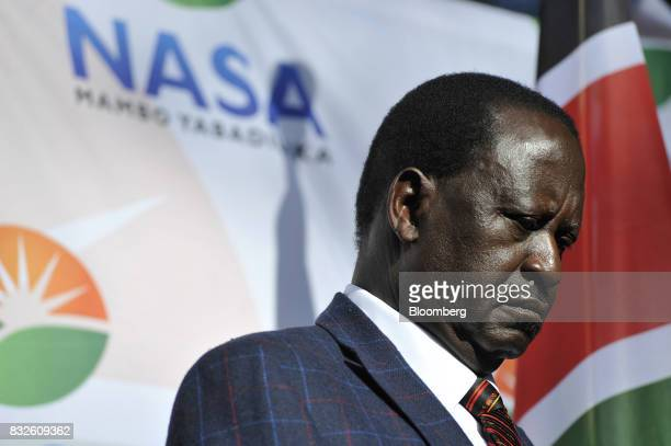 Raila Odinga opposition leader for the National Super Alliance pauses during a news conference in Nairobi Kenya on Wednesday Aug 16 2017 Kenyan...