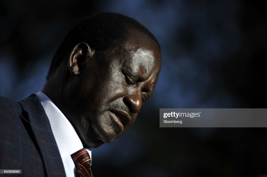 Raila Odinga, opposition leader for the National Super Alliance (NASA), speaks during a news conference in Nairobi, Kenya, on Wednesday, Aug. 16, 2017. Kenyan authorities tried to raid the offices of a civil-rights group planning to challenge last weeks election results in court, the latest move in what activists say is a campaign to quell dissent over the vote that returned President Uhuru Kenyatta to power. Photographer: Riccardo Gangale/Bloomberg via Getty Images