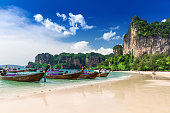 Railay beach in Krabi Thailand. Asia
