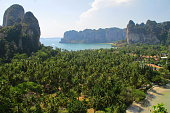 View from cliff's viewpoint to famous peninsula in Thailand.