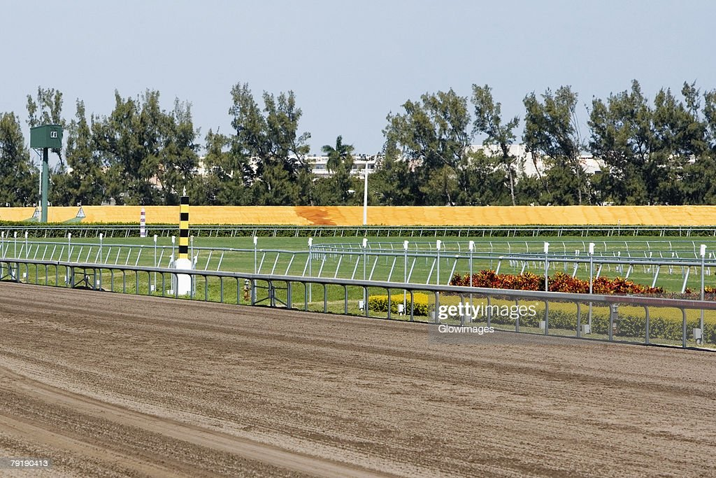 Railing along a horseracing track : Foto de stock