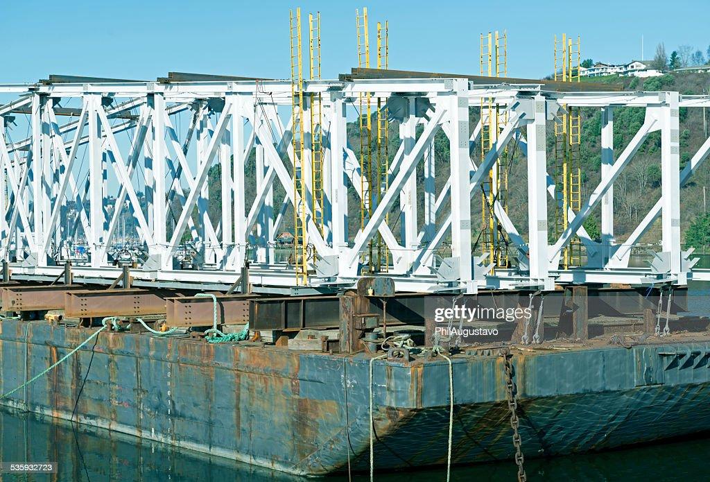 Railroad bridge aboard barge in Tacoma WA : Stock Photo