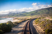 Railroad used by the Amtrak routes Coast Starlight and Pacific Surfliner, Central California Coast near Lompoc.