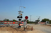 Railroad crossing in the countryside