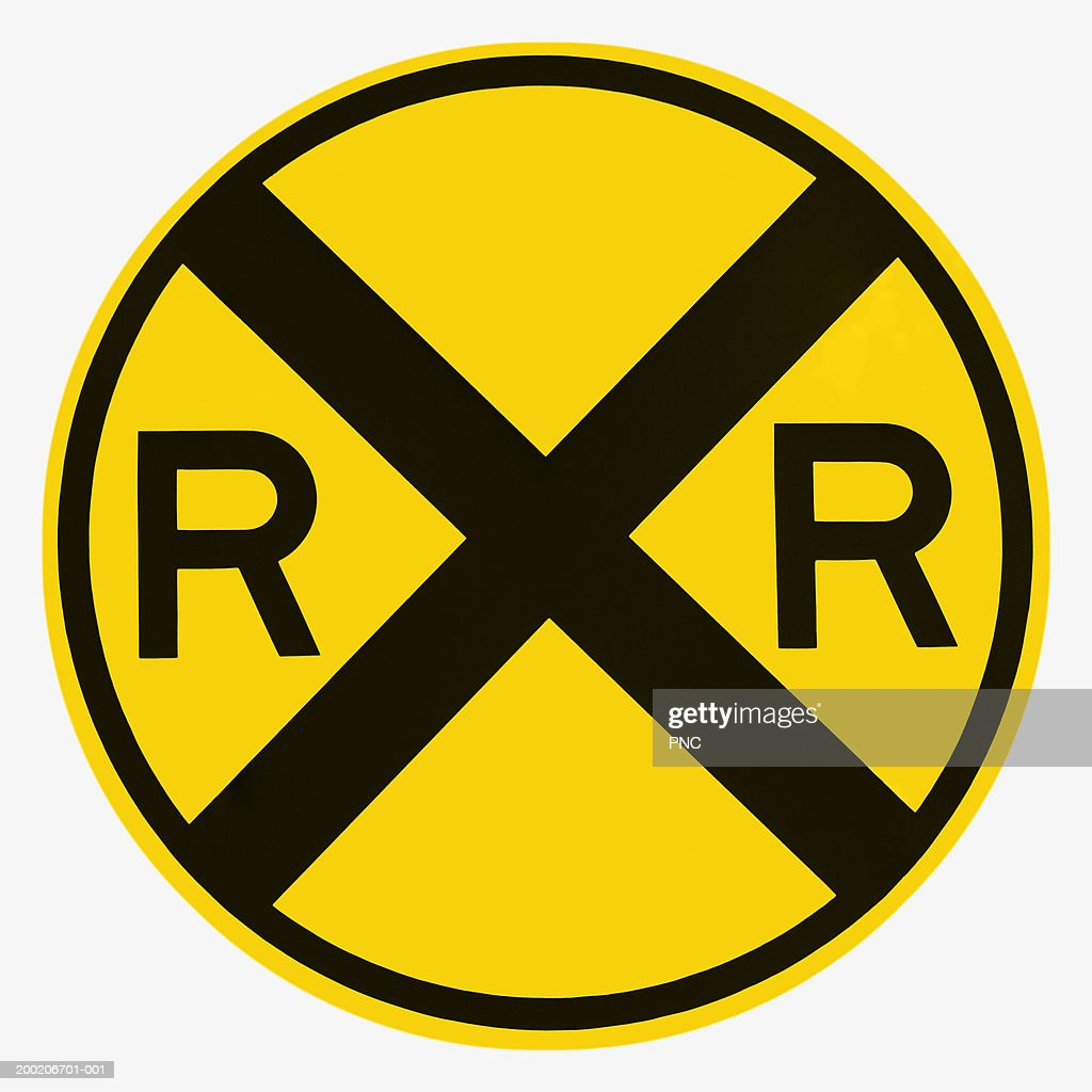 Railroad crossing road sign : Stock Photo