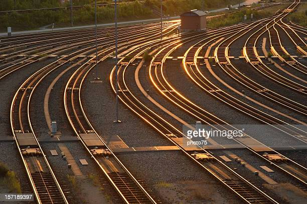 Railroad Marshaling Yard looking empty during sunset