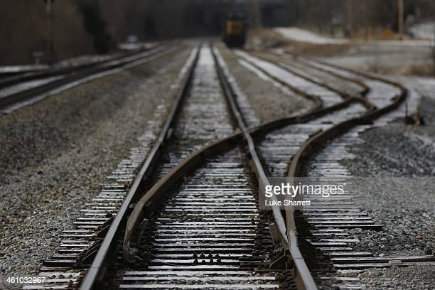 A railroad switch along a CSX Transportation rightofway is pictured on January 6 2014 in Worthville Kentucky Intermodal rail traffic in the United...
