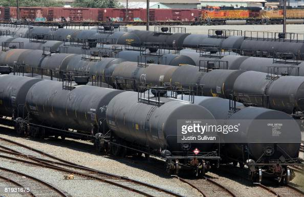 Railroad tanker cars sit outside of the Chevron refinery July 14 2008 in Richmond California As gasoline prices continue to climb to a national...