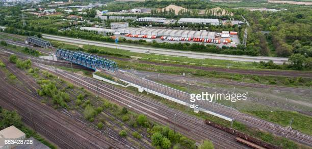 Railroad track, aerial view