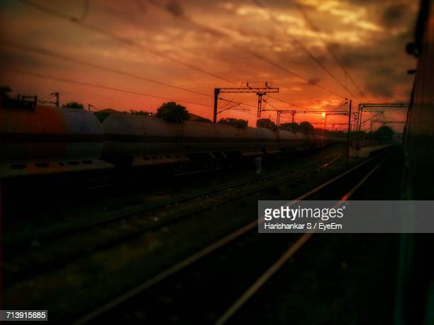 Railroad Track At Sunset