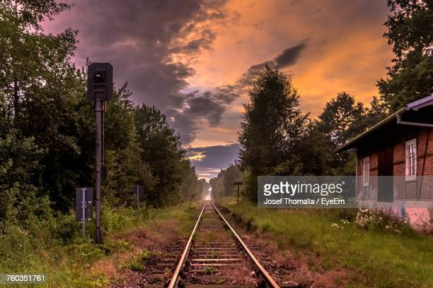 Railroad Tracks Amidst Trees Against Sky During Sunset