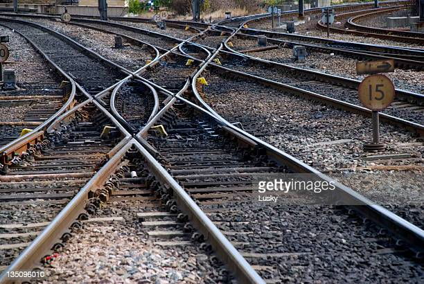 Railroad tracks crossing over each other