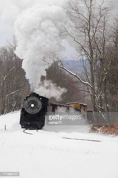 Railroad Train, Old Steam Locomotive Pulling in Winter