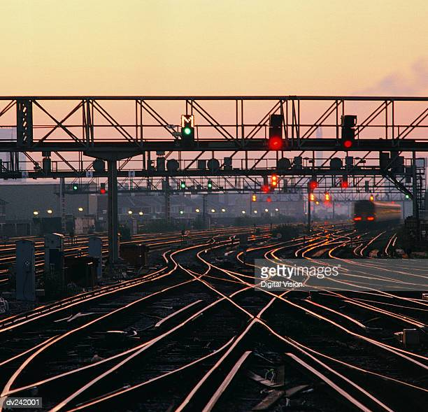 Rails and signals at dusk